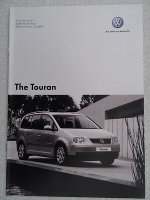 VW Touran Price List 2005 - S, SE, Sport models - options / accessories / VED's