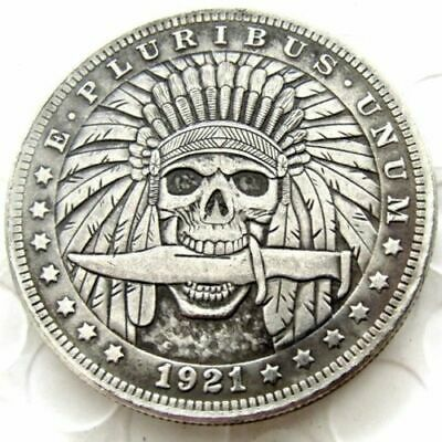 Hobo Nickel coin 1921 Morgan Dollar Indian Skull Zombie Skeleton with knife