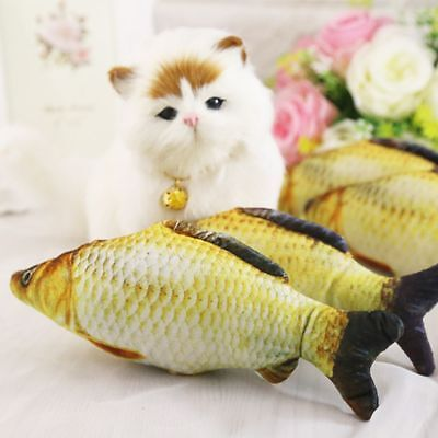 Funny Pet Kitten Cat Play Fish Shaped Plush Toys Coated With BB sounder