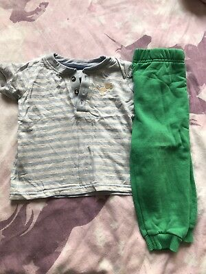 Stripey Teshirt And Green Joggers 6-9