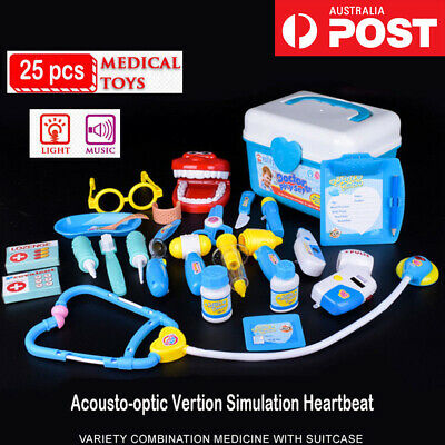 25pcs Kids Play Role Pretend Kit Doctor Nurse Medical Toys Case Set Xmas Gift