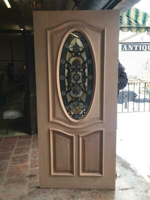 Beautiful Custom Design Hand Made Mahogany Wood Stained Glass Entry Door - Jh361