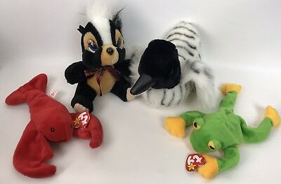 Plush Lot of 4 Stuffed Animals Duck Skunk & TY Beanie Babies Frog & Lobster