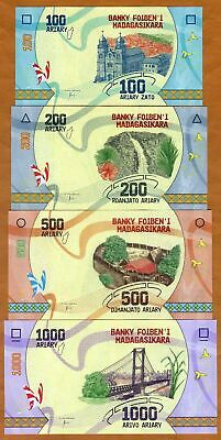 Lotto Madagascar 100;200;500;1000 Ariary, 2017 P-New UNC > Completely Redesigned