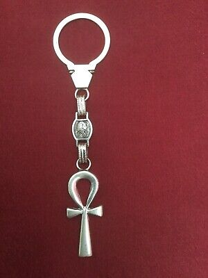 Rare Unique Egyptian Ankh Key of Life,Tut Stamped 100% Sterling Silver Keychain