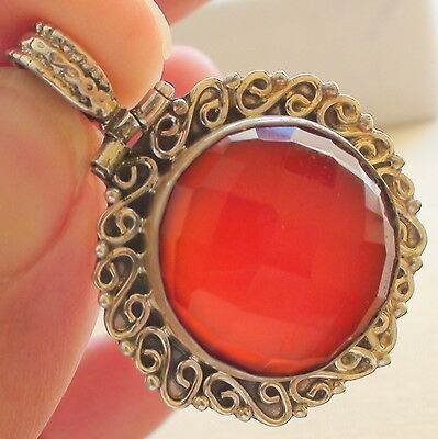 NATURAL CARNELIAN PENDANT,NECKLACE, Vintage  Estate Jewelry,925 STERLING SILVER.