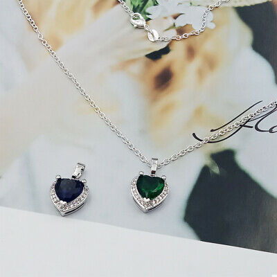 Love Heart Fashion Women Crystal Pendant Necklace+Necklace Chain Women Jewelry