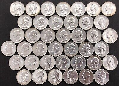 40 Uncirculated 1964 United States George Washington Silver Quarter Coins 250.0g