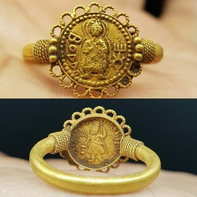 22k karat Solid Gold Ring With Kushan Gold buda Coin   #9T