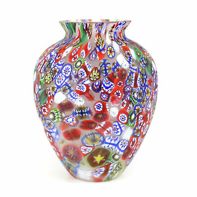 Italian Millfiori Art Glass Vase Mid Century Hand Blown.