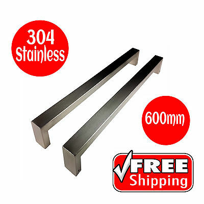 LONG DOOR HANDLE SET ENTRANCE PULL STAINLESS STEEL 600mm BRUSHED FINISH SQUARE