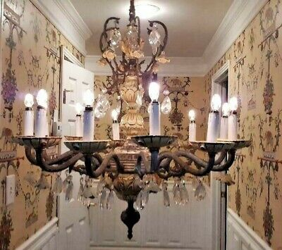Vintage XL Italian Porcelain Ornate Brass Crystal Roses 12 Light Chandelier 1940