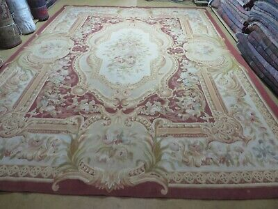 9' X 12' Hand Made French Aubusson Weave Rug Wool Savonnerie Design Needlepoint
