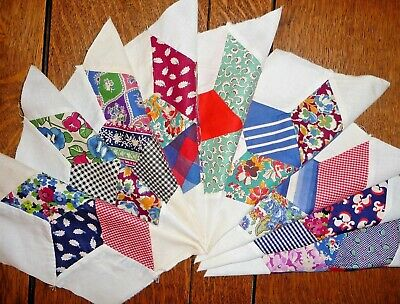 Antique Vintage Lot of 9 STAR in a HEX Quilt Blocks