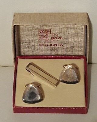 Vintage Mr Tara Mens Jewelry Cuff Links Tie Bar Set Orig Box gold tone