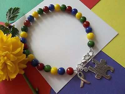 Autism Awareness Bracelet-Beaded- W/puzzle And Ribbon Charm