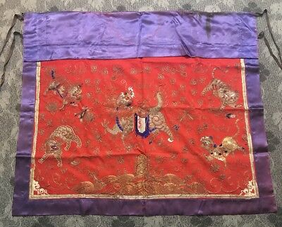Massive Antique Chinese Textile Embroidery Wall Hanging With Foo Loin