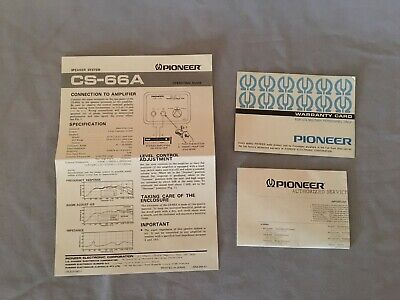 Pioneer CS-66A Speaker Operating Guide, Warranty card and Service Center list