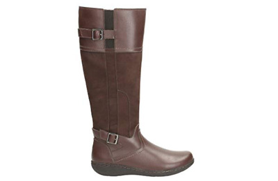 CLARKS Fianna Phoenix Brown Combi LEATHER BOOTS SIZE 5 D £100 (Cushion Soft)