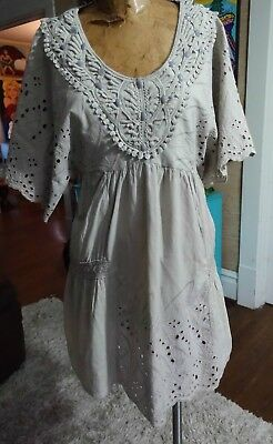 63c2f487ff4 White Chocolate size M greige boho tunic dress embroidered lace embellished  RARE