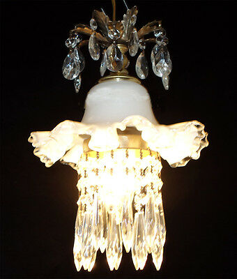 Vintage Silver Crest Fenton Glass ceiling Lamp lily hanging brass crystal