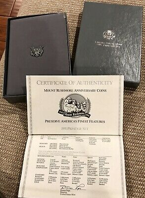1991 Prestige Proof Set U.S. Mint COA & Box Mount Rushmore Silver Dollar