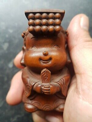Old Rare Wood Handcarved Oriental ornament~Little Emperor Statue~