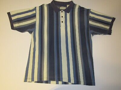 95f48518e VINTAGE Polo Rugby Golf Shirt Mens Size Large 90 s Striped Design Half  Button Up