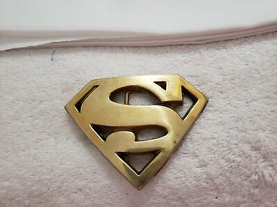 Vintage 1978 Superman Baron Buckle Solid Brass Made in Taiwan