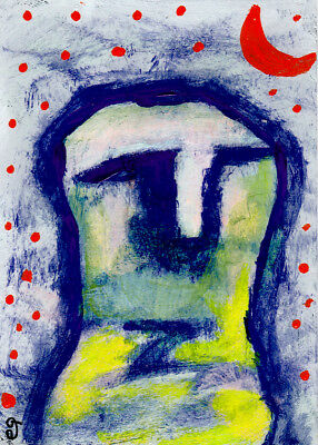 this numinous life e9Art ACEO Outsider Art Abstract Painting Folk Brut Original