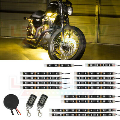 LEDGlow 14pc Advanced Yellow SMD LED Motorcycle Light Kit - LU-MC-SMD-Y-14pc