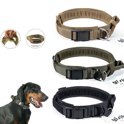 K9 HEAVY DUTY Tactical Training Dog Collar with Handle/Alloy Buckle Medium Large