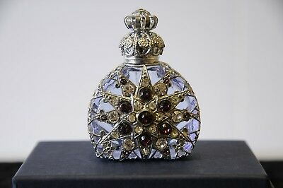 Lavender Czech Glass Miniature Perfume Bottle with Silver Filigree & Crystals