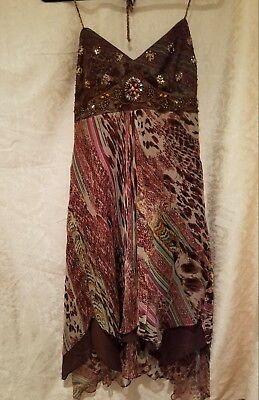 10dfafdba6d Sue Wong Halter Style Dress- Beaded- Size 10- Multi Pattern - Handkerchief  Hem