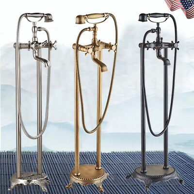 Free Standing Claw-foot Bathtub Faucet Floor Mounted Tub Filler Handheld Shower