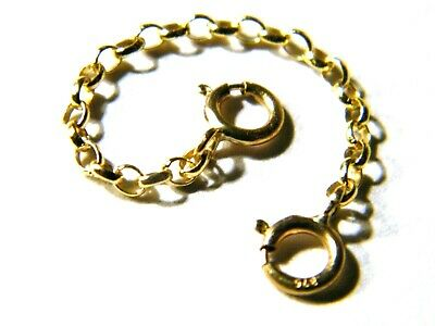 """STRONG 3""""-9ct Yellow Gold Belcher Safety Chain  Extender Necklace -Bracelet"""