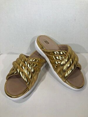 5436a14122468 FITFLOP Loosh Luxe Cross Slide Womens Sz 11 Metallic Gold Leather Sandals  VS-181
