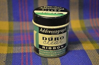 Hard to Find Vintage DURO CLEAR ADDRESSOGRAPH Round Ribbon Tin-Cleveland, Ohio