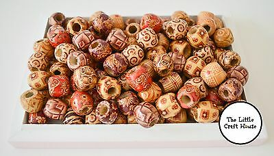100PC 12mm Tribal Patterned Wood Beads Mix Wooden Dreadlock Pony Bead Macrame
