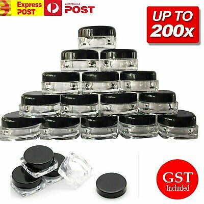 UP 200pc 3g Sample Bottle Cosmetic Makeup Jar Pot Face Cream Lip Balm Containers