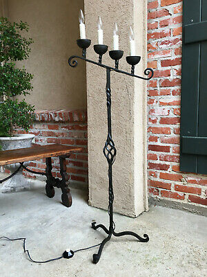 Antique French Wrought Iron Floor Lamp 4 Candle Candelabra Castle Lighting