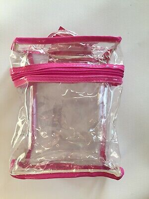 Clear Cosmetic Make Up Holiday bag Vinyl Travel Zip Bag  Airport Toiletry Bag