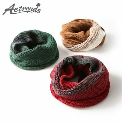 [AETRENDS] 2019 New Gradient Patchwork Colors Wool Scarf Ring Scarves Women