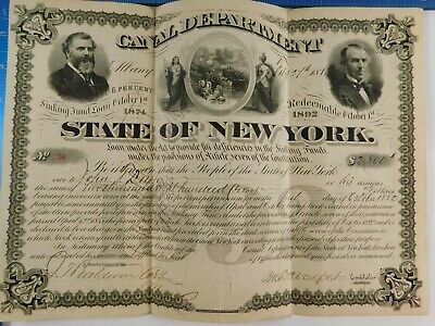 Antique 1874 State of New York 18 Year Canal Improvement Bond Sinking Fund Loan