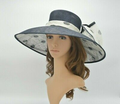 0648853345a485 M95( Navy/Ivory )Kentucky Derby Church Wedding Polka Dot Wide Brim Sinamay  hat