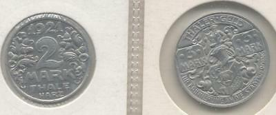 Germany, Inflation Coinage 2 And 3 Mark Thaler-Geld 1921
