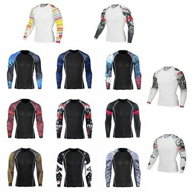 Men's Compression Thermal Tops Skin Base Layer Long Sleeve Sport Gym T-Shirt  AU
