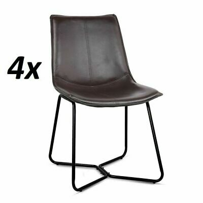4x Retro Artiss Vintage Eames LEANNE Dining Chair Rustic DSW Leather Walnut
