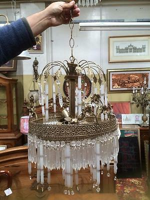 Large Vintage Hollow Glass Icicle Waterfall Chandelier Light Fitting