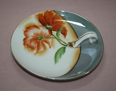 """Noritake (M) Hand Painted 5 1/2"""" Candy Dish -Applied Finger Handle Floral  Japan"""